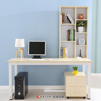 简约组合电脑桌/桌子 加长1.4米+七格柜+两抽屉柜子