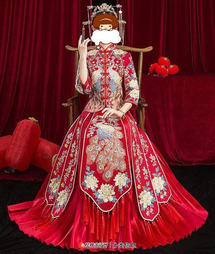 中式结婚新娘服-古装秀禾新娘服 只婚礼穿了几个小时89元便宜出手 原价358元