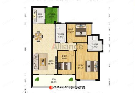 8临桂电梯房拎包入住西城大道凤凰汇对面碧园印象桂林