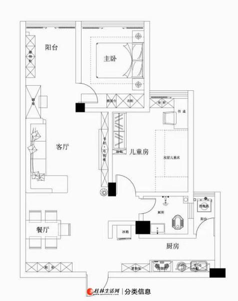 七星区,龙隐小学,东岸枫景冠泰城国新天地电梯中层大2房新装修拎包入住