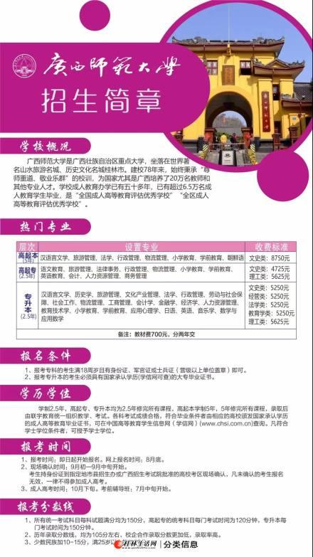 2021年广西师范大学高起专、专升本热门专业